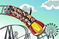 Screaming people riding roller coaster in an amusement park.