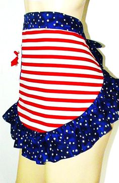 Stars Stripes Liberty Girl Pin Up Sexy Apron Retro Vintage Ruffle Half Skirt