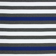 """Irene Stripe Anthracita Monaco Blue Cotton Jersey Blend Knit Fabric - A designer overstock score! Beautiful colors of royal blue and heather gray stripes on a white cotton jersey rayon blend knit. Fabric is light to mid weight, with a beautiful drape, nice stretch, and smooth soft hand. Stripes measure 1"""". Suitable for many different applications! :: $5.70"""