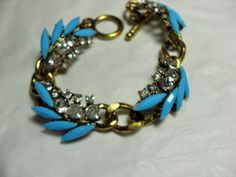 Gold Rhinestone bracelet, Gold tone, clear and blue rhinestones, link bracelet, rhinestone accent gift for her Gingerslittlegems by GingersLittleGems on Etsy