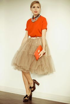tulle skirt with casual top