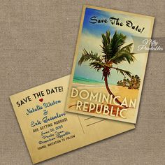 Beach Save The Date Postcard - Palm Tree Save The Date Cards - Printable Retro Wedding Save The Dates - Dominican Republic or Any Beach VTW by NiftyPrintables on Etsy