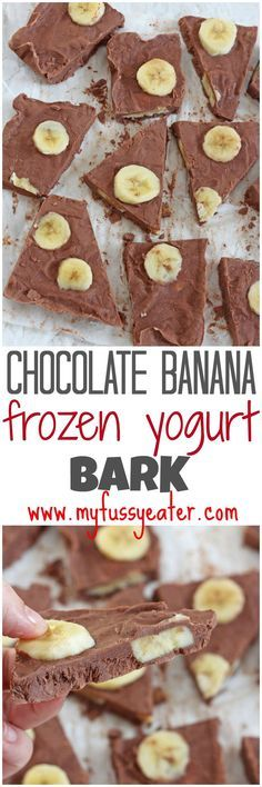 Chocolate Banana Frozen Yogurt Bark A delicious and healthy snack made with just four simple ingredients. A great alternative to ice cream for kids and [. Snack Recipes, Dessert Recipes, Cooking Recipes, Yogurt Recipes, Qinuoa Recipes, Recipes Dinner, Recipies, Healthy Sweets, Healthy Snacks