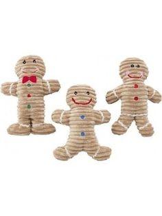 Holiday Corduroy Gingerbread Man Stuffed Plush Dog Toy Squeaker Christmas Gift