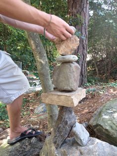Clients work with stones in horticulture therapy and compare it to what their balancing in their recovery