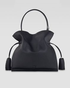 Loewe Black Flamenco 30 Drawstring Leather Bag Black