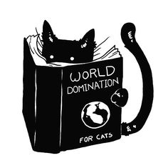 I knew it! ... ... Cat reading book titled WORLD DOMINATION FOR CATS © tobefonseca (Artist, Brazil) via shirtwoot (Tee-Shirt Site).