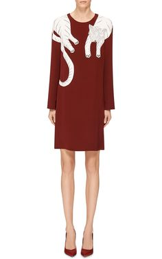 M'O Exclusive Burgundy Dress With White Panther by Holly Fowler for Preorder on Moda Operandi