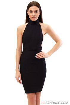 sexy black halter neck backless 2017 women's new fashion clubware mini bodycon rayon bandage dress