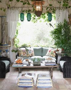 Mediterranean Style Home Decor - Mediterranean Decorating Ideas Photos - House Beautiful; HP holy shit it's my future house. Outdoor Rooms, Outdoor Furniture Sets, Indoor Outdoor, Outdoor Living, Indoor Ivy, Mediterranean Style Homes, Mediterranean Architecture, Mediterranean Garden, Organic Architecture
