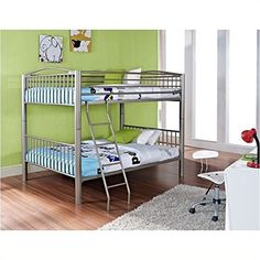 Bowery Hill Heavy Metal Full Over Full Bunk Bed in Pewter * Read more reviews of the product by visiting the link on the image. (This is an affiliate link) #FutonBunkBedIdeas