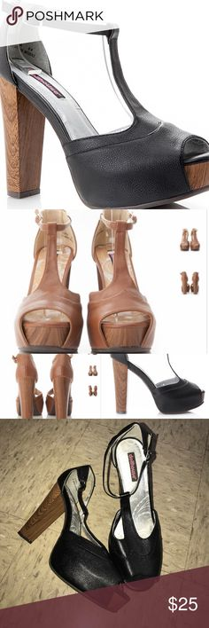 Dollhouse peep toe chunky heels size 11 Awesome shoes worn once and in excellent condition. Easy to walk in and fit true to size. Outside is a faux leather material fashioned in a T strap with buckles. Dollhouse Shoes Heels