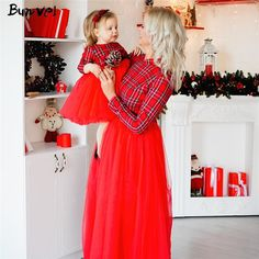IFFEI Mommy and Me Dress Matching Solid Mesh Stitching Dresses for Mother and Daughter