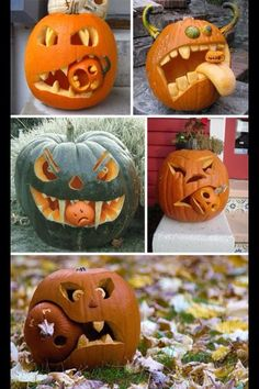 Beautiful Jack-o-Lanterns And Halloween Centerpieces These are the most hysterical cannibal jack-o-lanterns Ive ever seen! The post Beautiful Jack-o-Lanterns And Halloween Centerpieces appeared first on Halloween Pumpkins. Casa Halloween, Halloween Tags, Outdoor Halloween, Halloween Pumpkins, Halloween Crafts, Funny Pumpkins, Halloween Costumes, Halloween Foods, Happy Halloween