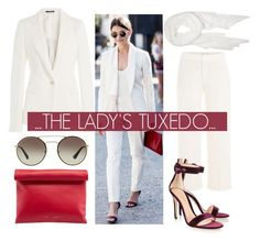 """The Lady's Tux...."" by nfabjoy ❤ liked on Polyvore featuring Maison Margiela, Calvin Klein, Vince, Gianvito Rossi, CÉLINE, Prada, white and suit"