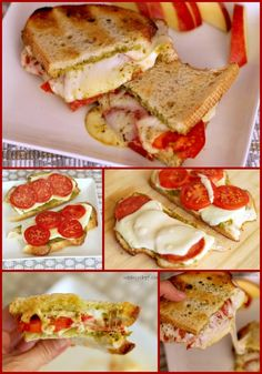 Pesto Pizza Grilled Cheese Sandwiches Looks delicious! Kids might actually eat this one! Pesto Pizza, Pesto Bread, Tomato Pesto, Garlic Bread, I Love Food, Good Food, Yummy Food, Pesto Grilled Cheeses, Sandwiches