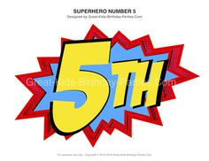 Free Superhero Printables – Large Superhero birthday numbers. Great for centerpieces and decorations . - Visit to grab an amazing super hero shirt now on sal