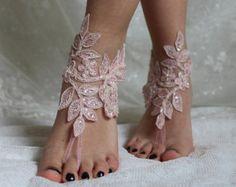 LIBRE SHİPP İvory encaje boda sandalias pies descalzos