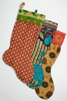Recycled sari Christmas stocking - made from vintage sari cloth by a fair trade social enterprise in Bangladesh that helps survivors of sex trafficking rebuild their lives.