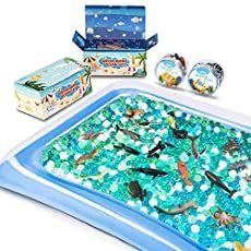 MONILON Water Beads, 24 Pcs Ocean Sea Animals Tactile Sensory Play Kids Toys for Boys Girls, Water Gel Soft Beads Growing Jelly Balls for Spa Refill, Pool & Decor-Inflatable Water Mat Include Halloween Activities For Toddlers, Toddler Activities, Activities For Kids, Crafts For Kids, Senses Activities, Alphabet Activities, Toddler Toys, Baby Toys, Sensory Toys For Autism