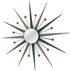 Sputnick Mirror | From a unique collection of antique and modern sunburst mirrors at https://www.1stdibs.com/furniture/mirrors/sunburst-mirrors/
