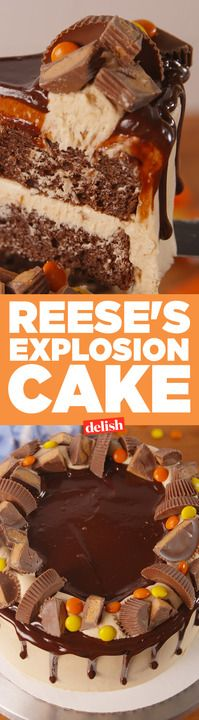 Watching this Reese's Explosion Cake get decorated will completely blow you away. Get the recipe from Delish.com.