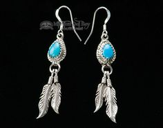 American Indian Navajo Silver & Turquoise Earrings - Mission Del Rey Southwest