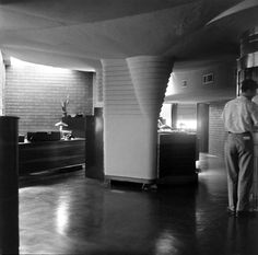 Interior of #FrankLloydWright's #SCJohnson building.  Photograph by Jack Loftus, 1950. The #FrankLloydWrightFoundation Archives (The Museum of Modern Art   Avery Architectural & Fine Arts Library, Columbia University, New York)