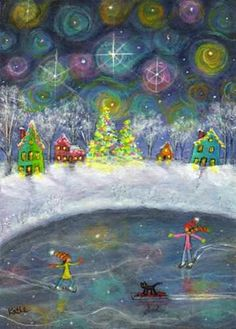 Pastel Christmas drawing project, ice skating