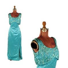 9ca72173ac Vintage 1960 s Teal Silk Shimmer Sequin Hourglass Tailored Evening Prom Cocktail  Party Dress L NOS Hourglass