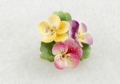 vintage Staffordshire Cara China flower brooch