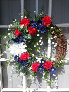 Check out this item in my Etsy shop https://www.etsy.com/listing/230980074/americana-patriotic-wreath-red-white