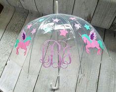 Girls Pink Purple Unicorn Transparent Clear Bubble Dome Umbrella Brolly School
