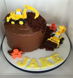 Digger children's birthday cake