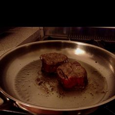 Eye fillet for dinner at home. Best to sear both sides on hot pan then straight into oven. Best way to cook a good steak!!