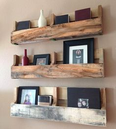 Reclaimed Wood Pallet Shelves - Set of 3