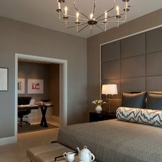 Bedroom Design: Modern Chic Master Bedroom with a home office with. Chic Master Bedroom, Master Bedroom Design, Home Decor Bedroom, Bedroom Furniture, Master Suite, Bedroom Office, Bedroom Interiors, Parisian Bedroom, Bedroom Colors