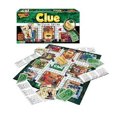 $19.99 - Who committed the crime?• In this classic edition of Clue, kids will use strategy and process of elimination to figure out the who, where, and how of a murder. Contains:• Gameboard• 6 suspect tokens• 6 weapons• Deck of suspects• Weapon• And room cards• Confidential case file• Detective notebook pad• Die and rules.  3 to 6 players. Interested in Classic Games? See ?em all here!
