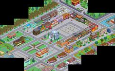 My Simpsons Tapped Out town center. Town hall, shops jebadiah springfield monument statue and moe's tavern. Springfield Tapped Out, Town Hall, The Simpsons, Layout, Cool Stuff, My Love, How To Make, Shops, Statue