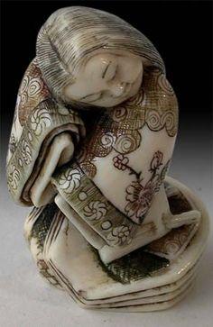 Early 20th Century Carved Ivory Netsuke Geisha Signed Gyokuho