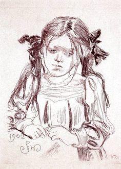 Dziewczynka z warkoczami - Helenka. Fluoroforta z 1902 roku. 2d Art, Belle Epoque, Pencil Drawings, Art For Kids, Art Nouveau, Photo Art, Sketches, Fine Art, Charcoal