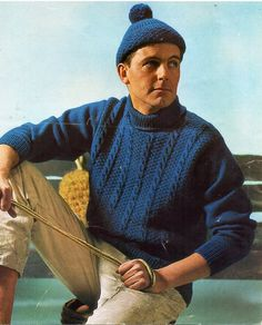 "vintage mens cable polo neck sweater . cap . knitting pattern PDF cable jumper 38-44"" DK light worsted 8ply Instant Download by coutureknitcrochet on Etsy"