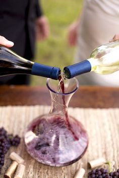Wine mixing... cool way to symbolize ongoing identification with Jesus for your marriage ceremony.