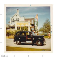 Square Color Photo English Car Taxi by Wrenns 1972   eBay