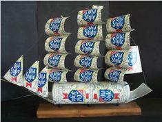 beer can craft   Old Style Beer Can Sail Boat