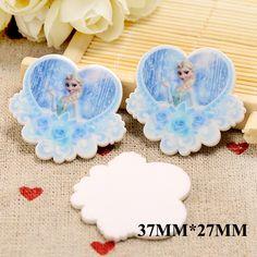 50pcs 37MM*27MM Cartoon Princess Flatback Resin Blue Color Rose Flower Heart Shape Planar Resins DIY Craft For Hair Bows DL170