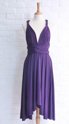 #Purple #Sleeveless Multi-wear V Neckline Unique #Chiffon #Bridesmaid Dress