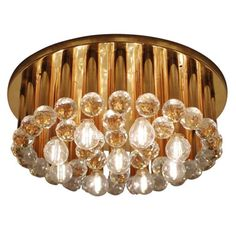 One of Three Huge Glass Crystal Drops and Brass Flush Mount by Ernst Palme | 1stdibs.com