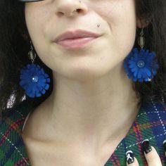 Blue Bachelor Button Eco Felt Earrings