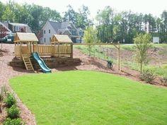 Ideas For Backyard Swing Set Picnic Tables Backyard Swing Sets, Backyard Playset, Backyard For Kids, Backyard Ideas, Playground Set, Playground Design, Backyard Playground, Children Playground, Sloped Yard
